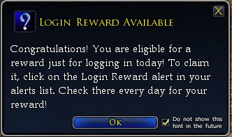 Login Reward available