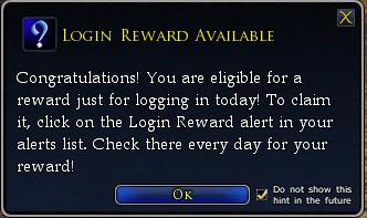 Login Reward available