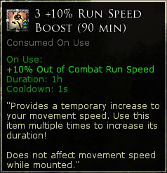 3 x 10% Run speed boost (90 minutes)