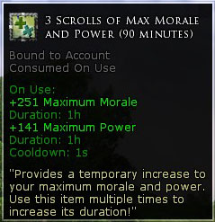 3 x scroll of Max morale and power (90 minutes)